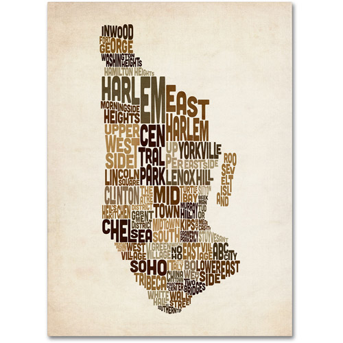 Trademark Art 'Manhattan Text Map' Canvas Art by Michael Tompsett