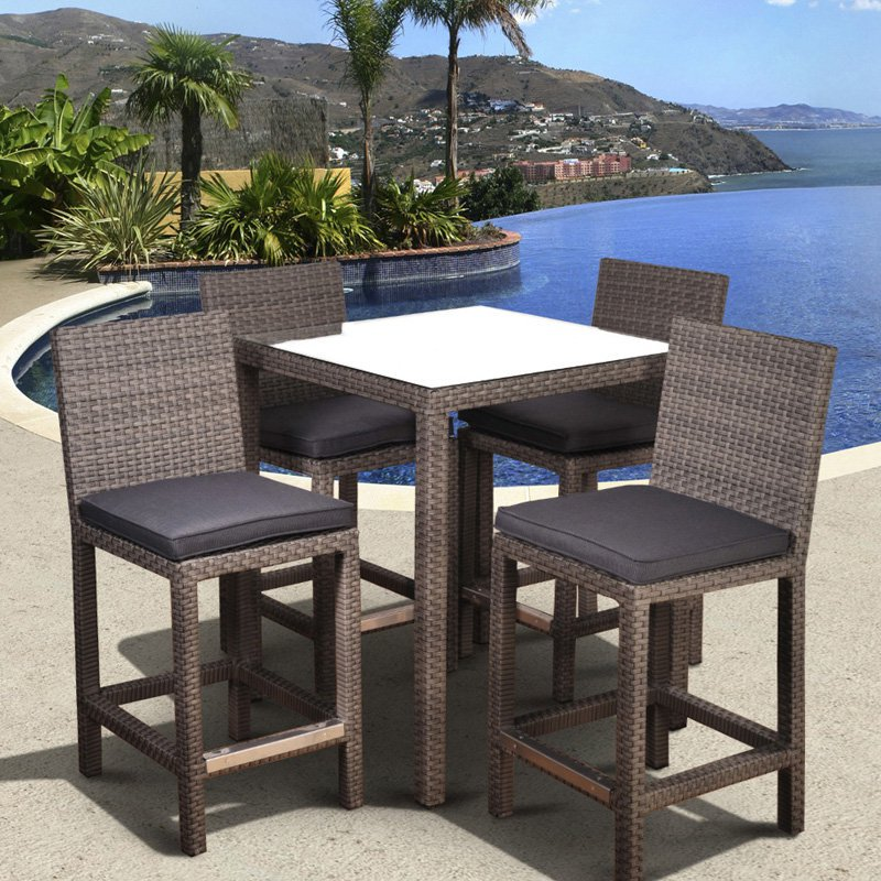 Atlantic Monza All Weather Wicker Square Bar Height Patio Dining Set    Seats 4