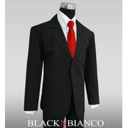 Big Boys Black Suit with Vibrant Red Long Neck Tie