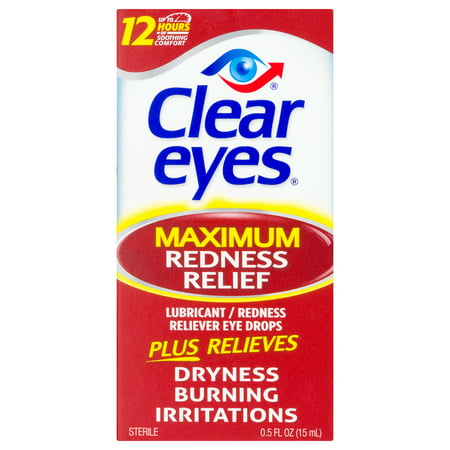 Clear Eyes Eye Drops Maximum Redness Relief, 0.5 fl (Collyre Bleu Laiter Clear Blue Eye Drops)
