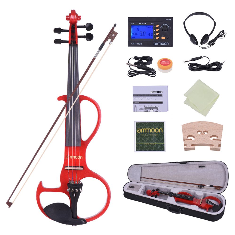 ammoon Full Size 4 4 Solid Wood Electric Silent Violin Fiddle Style-3 Ebony Fingerboard... by