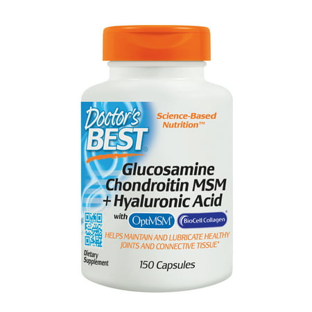 Doctor's Best Glucosamine Chondroitin MSM + Hyaluronic Acid with OptiMSM & BioCell Collagen, Joint Support, Non-GMO, Gluten Free, Soy Free, 150