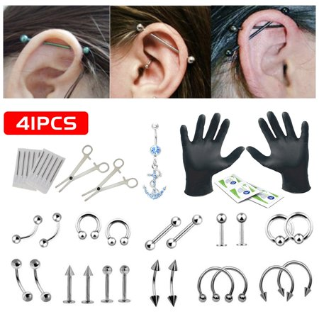 Blomdahl Ear Piercing - 41PCS Professional Piercing Kit Stainless Steel 14G 16G Body Jewelry Tongue Tragus Ear Eyebrow Nipple Lip Nose