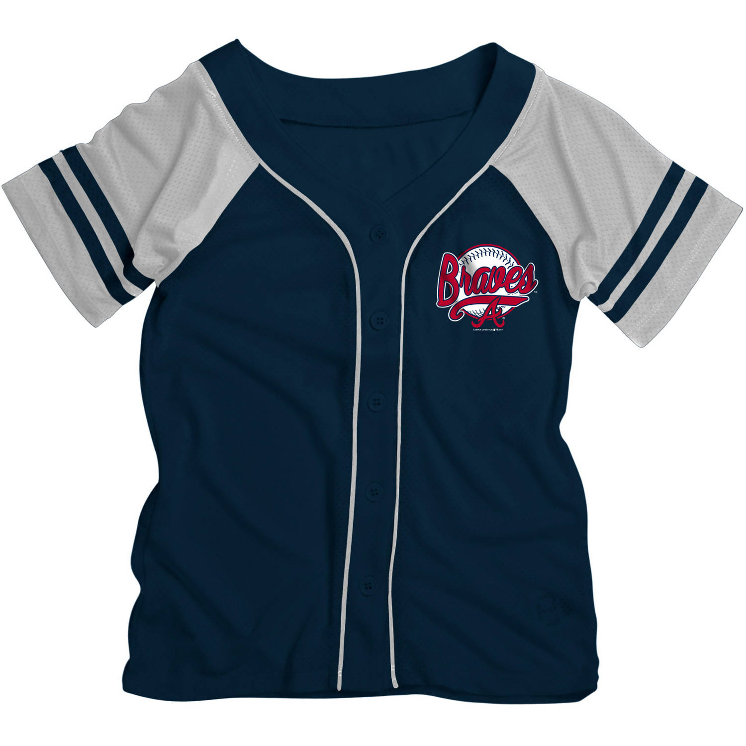 MLB Atlanta Braves Girls Short Sleeve Button Down Mesh Jersey