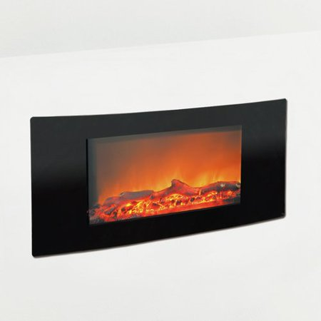 "Cambridge Callisto 35"" Wall-Mount Electronic Fireplace with Curved Panel and Realistic Logs"