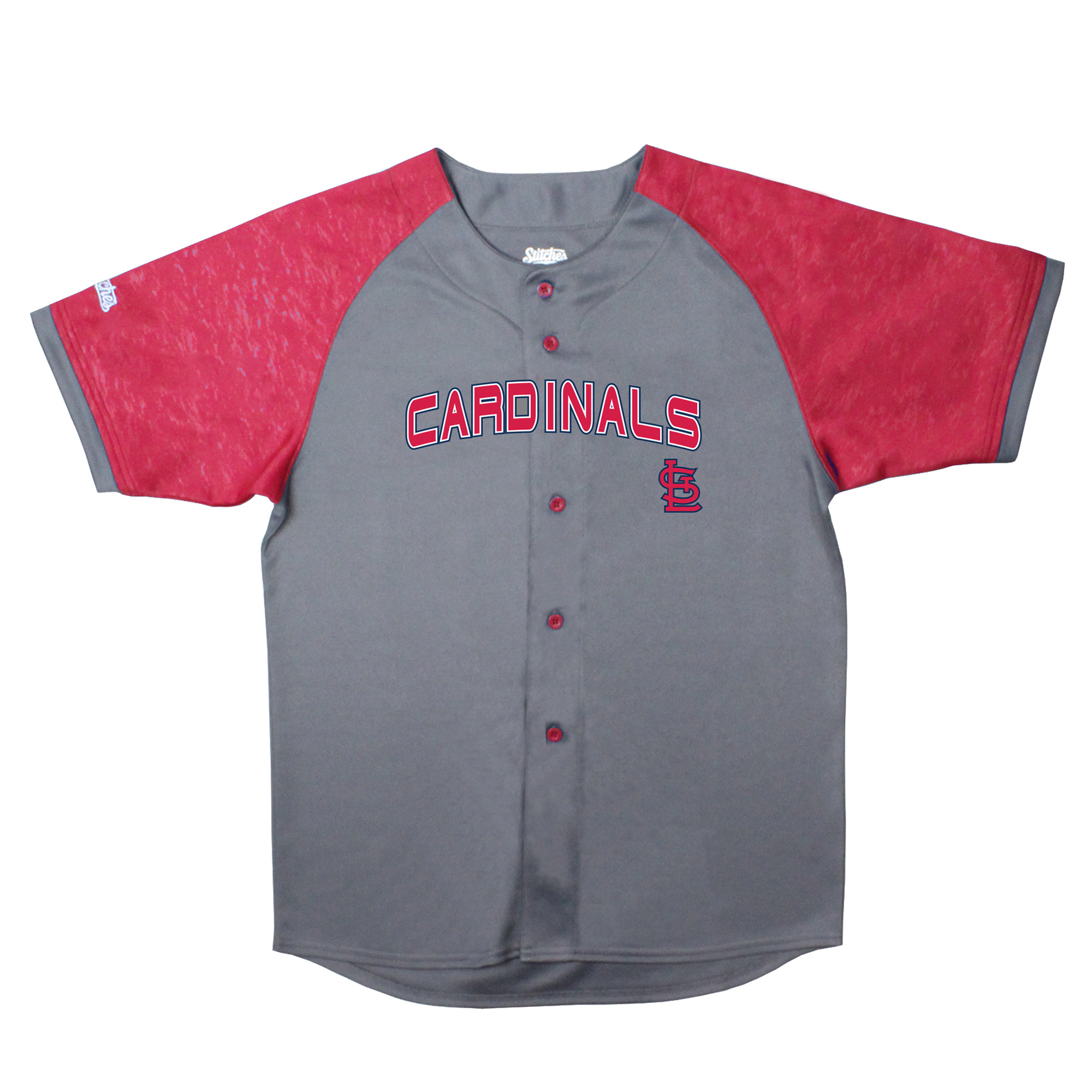 St. Louis Cardinals Stitches Youth Glitch Jersey - Charcoal/Red
