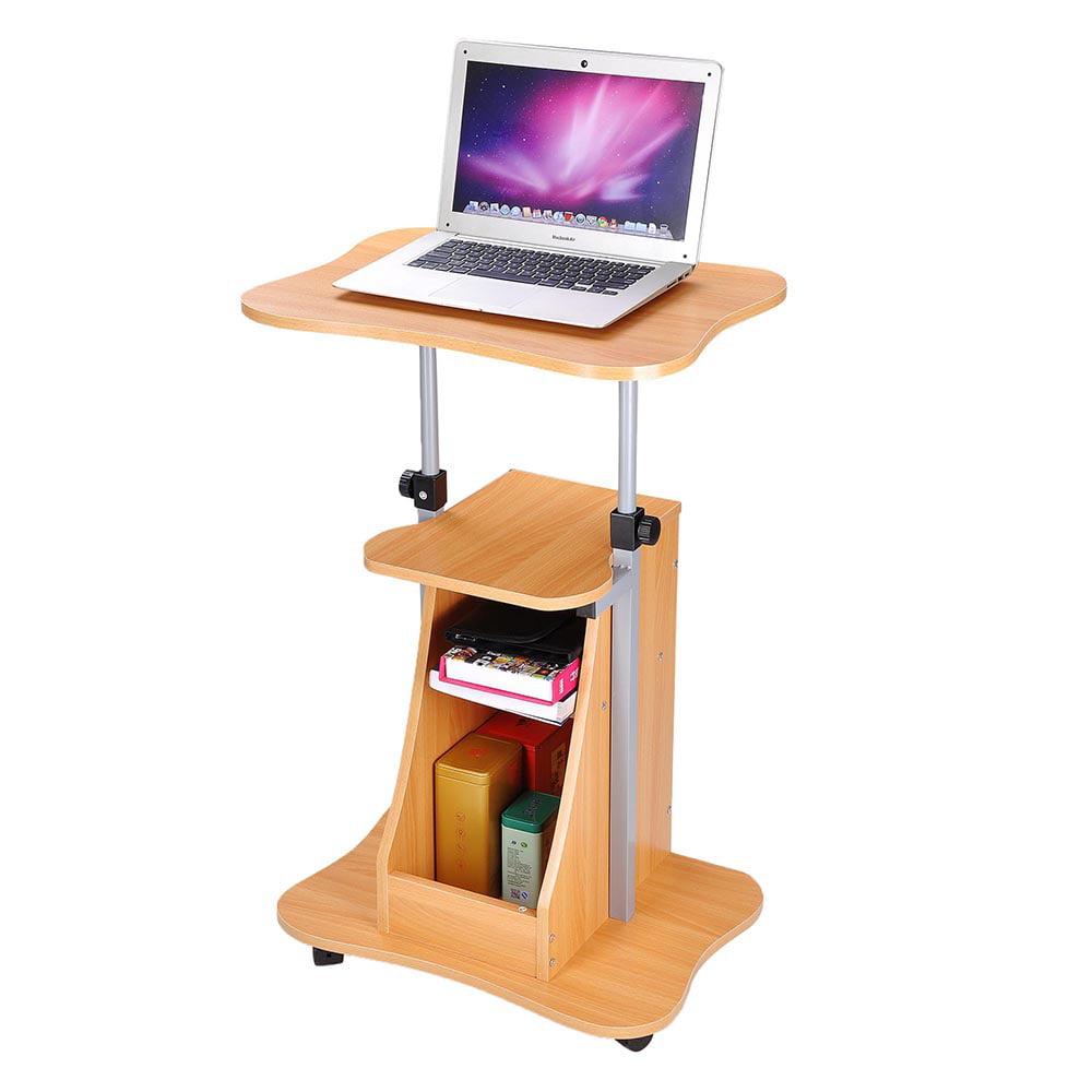 yescom adjustable height rolling mobile stand laptop desk cart shelves storage w screw set. Black Bedroom Furniture Sets. Home Design Ideas