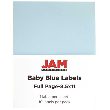 JAM Paper® Full Page Labels - 8.5 x 11 Sticker Paper - Baby Blue - 10/pack