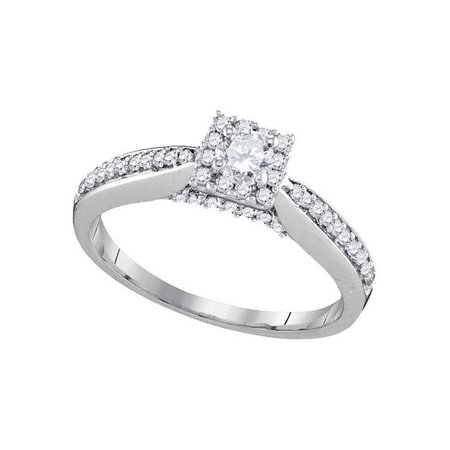 10kt White Gold Womens Round Diamond Solitaire Square Halo Bridal Wedding Engagement Ring 1/2 Cttw - image 1 de 1