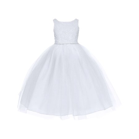 Calla Collection Girls White Sequin Embroidered Junior Bridesmaid Dress