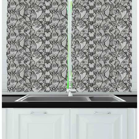 Black Lace Curtains (Floral Curtains 2 Panels Set, Lace Gothic Pattern with Flower Effect and Leaves Ornamental Antique Feminine Design, Window Drapes for Living Room Bedroom, 55W X 39L Inches, Grey Black, by)