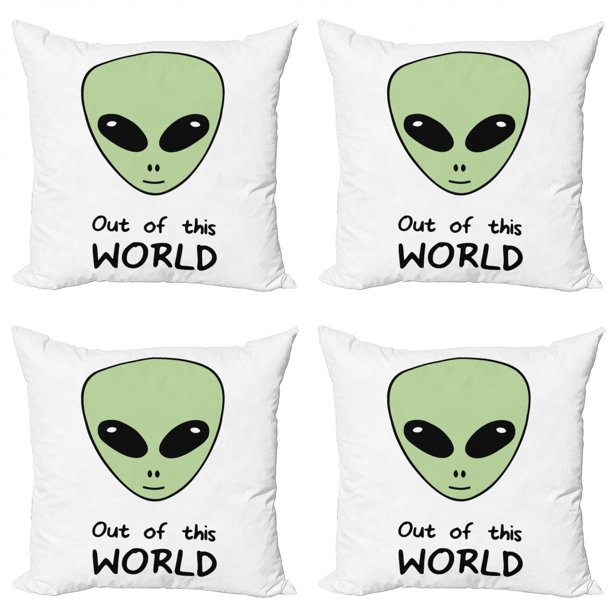 Alien Throw Pillow Cushion Case Pack Of 4 Out Of This World Extraterrestrial Creature Outer Space Illustration Modern Accent Double Sided Print 4 Sizes Pale Green Charcoal Grey By Ambesonne Walmart Com