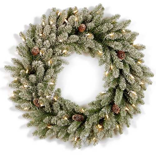 "National Tree 30"" Snowy Concolor Fir Wreath with Snowy Cones and 100 Clear Lights"