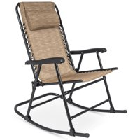 Best Choice Products Foldable Zero Gravity Rocking Patio Recliner Chair  Beige