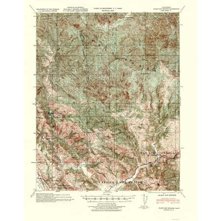 Topographical Map - Gilroy Hot Springs California Quad - USGS 1940 on