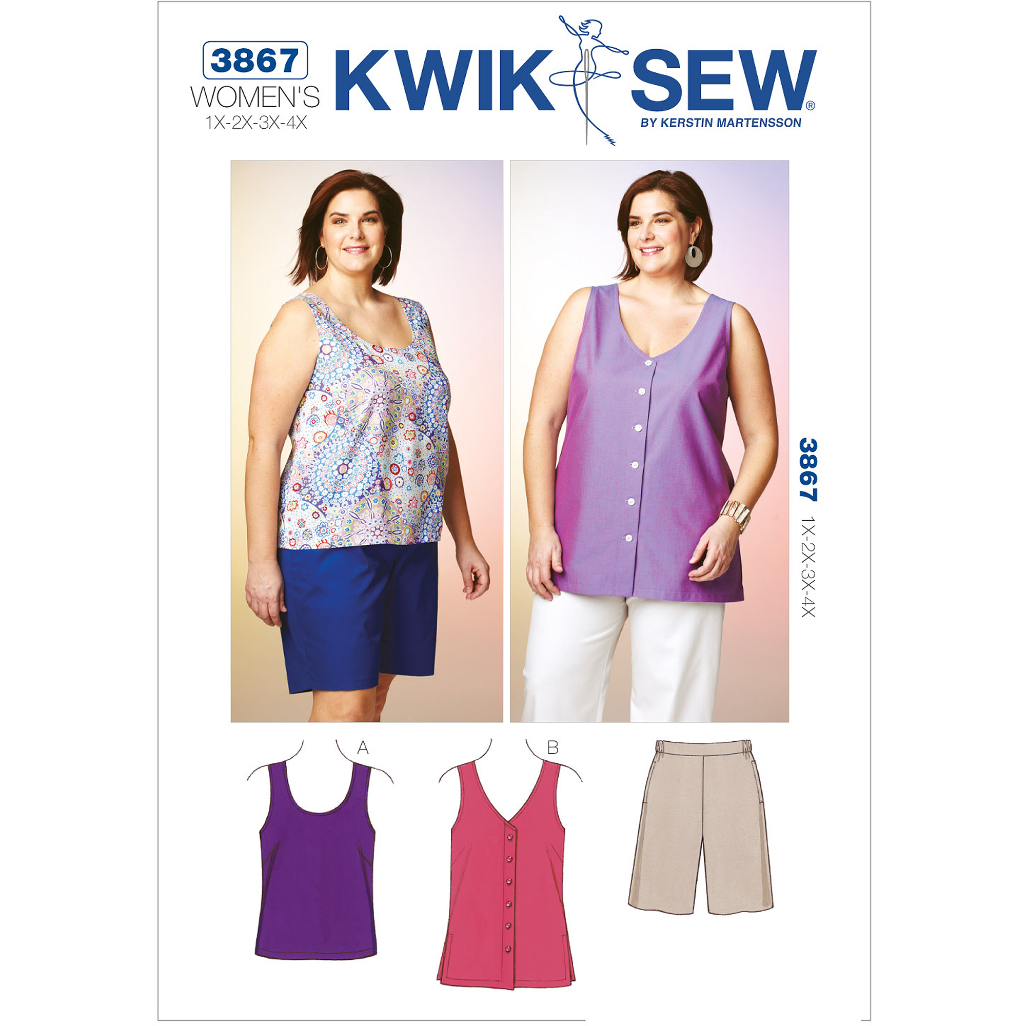 Kwik Sew Pattern Shorts, Top and Tunic, (1X, 2X, 3X, 4X)