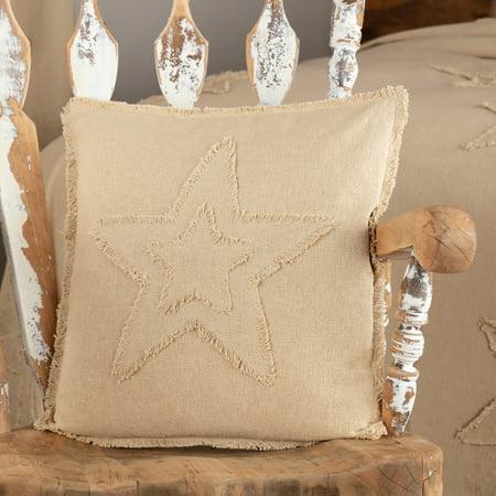 Vintage Tan White Seasonal Independence Day Bedding Veranda Burlap Creme Star Cotton Distressed Appearance Cotton Burlap Star Square 18x18 Pillow (Pillow Cover, Pillow Insert)