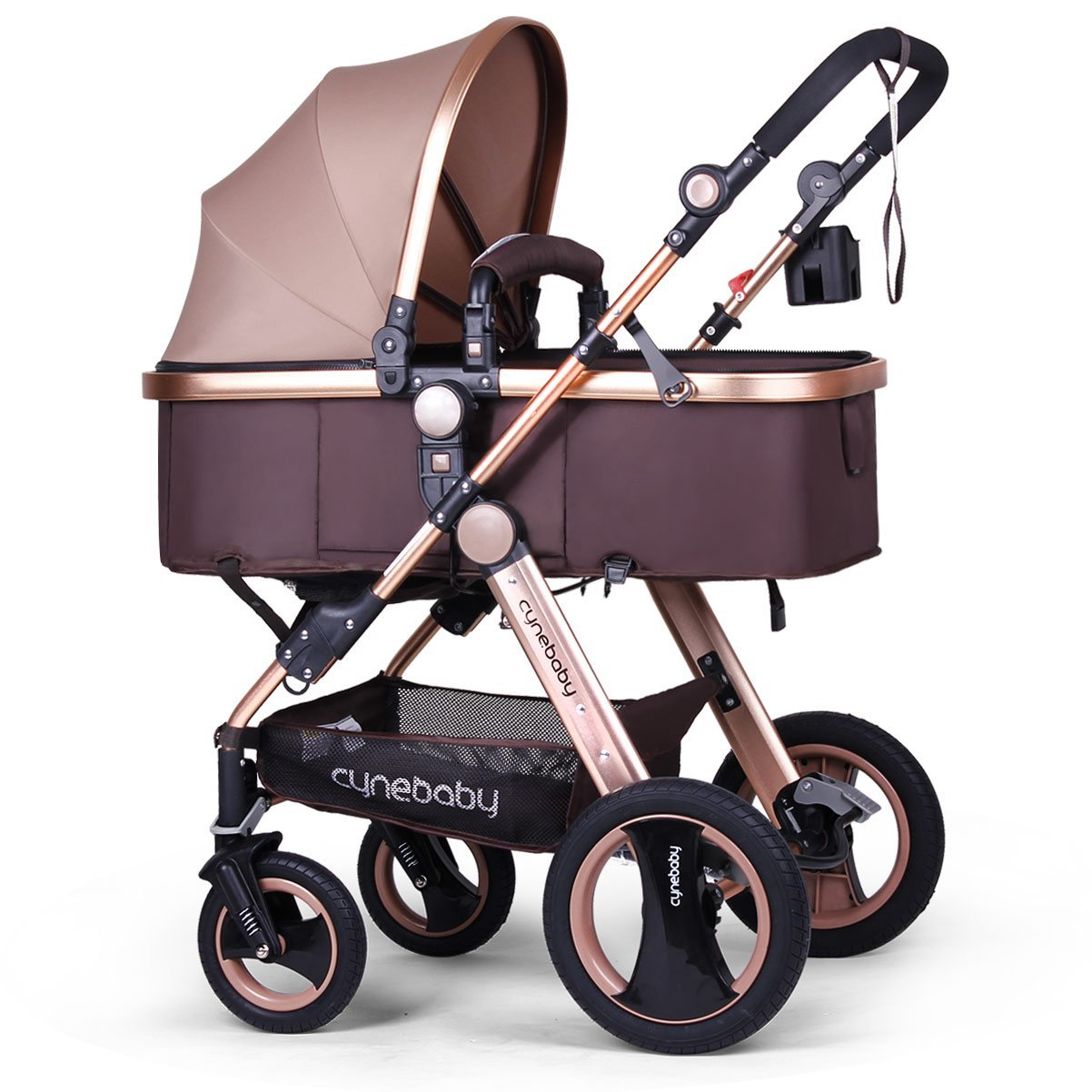 Infant Baby Stroller for Newborn and Toddler - Cynebaby Convertible Bassinet Stroller Compact Single Baby Carriage Toddler Seat Stroller Luxury Pram Stroller add Cup Holder.