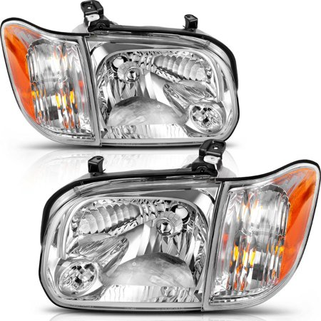 Headlight Assembly for 05 06 Toyota Tundra Double Cab 05 06 07 Sequoia Headlamp Replacement, Chrome Housing Clear