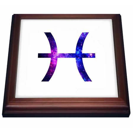 3dRose Pisces glyph horoscope symbol - purple zodiac astrological star sign - Trivet with Ceramic Tile, 8 by 8-inch
