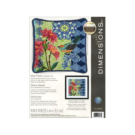 (Dimensions Needlepoint Kit 14x14 Blue Floral)