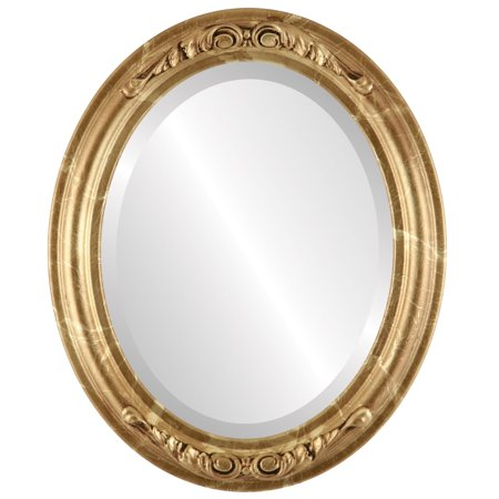 The Oval and Round Mirror Store Florence Framed Oval Mirror in Champagne Gold - Antique Gold - Florence Antique Mall
