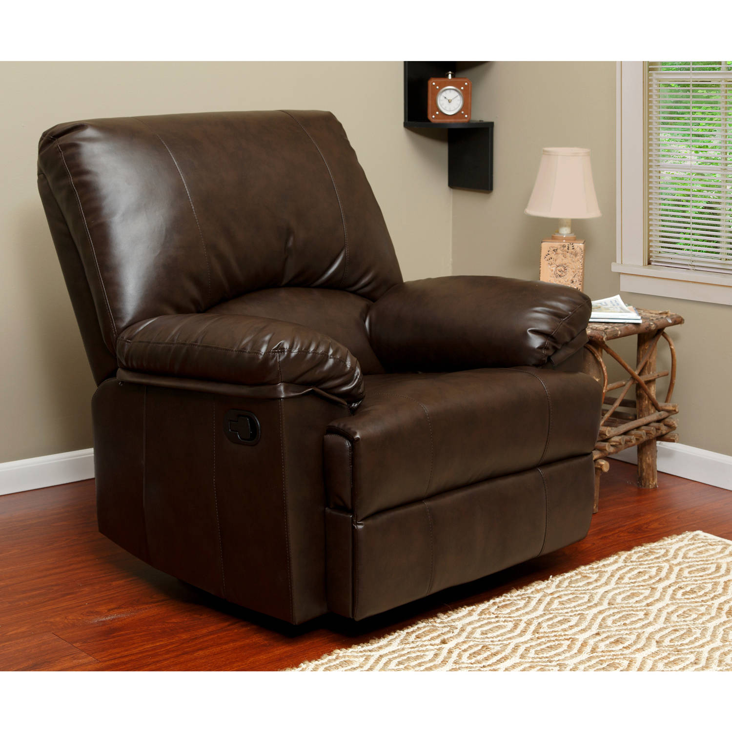 relaxzen 237000wm rocker recliner brown marbled leather - Leather Rocker Recliner