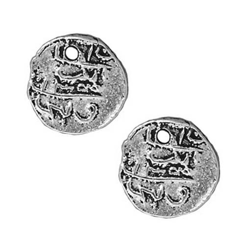 Fine Silver Plated Pewter Maldive Larin Coin Charm 9.5mm (2)