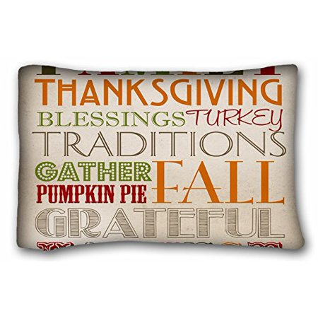 WinHome Pillow Case Family Thanksgiving Blessings Turkey Traditions Gather Pumpkin Pai Fall Grateful Harvest Printable Home Decor Rectangle Pillowcase Pillow Cover Size 20x30 -