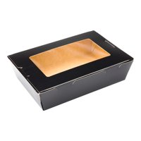 """Cafe Vision 42 oz Black Paper Medium Take Out Container - Hinge Lock - 8"""" x 5 1/2"""" x 2"""" - 200 count box"""