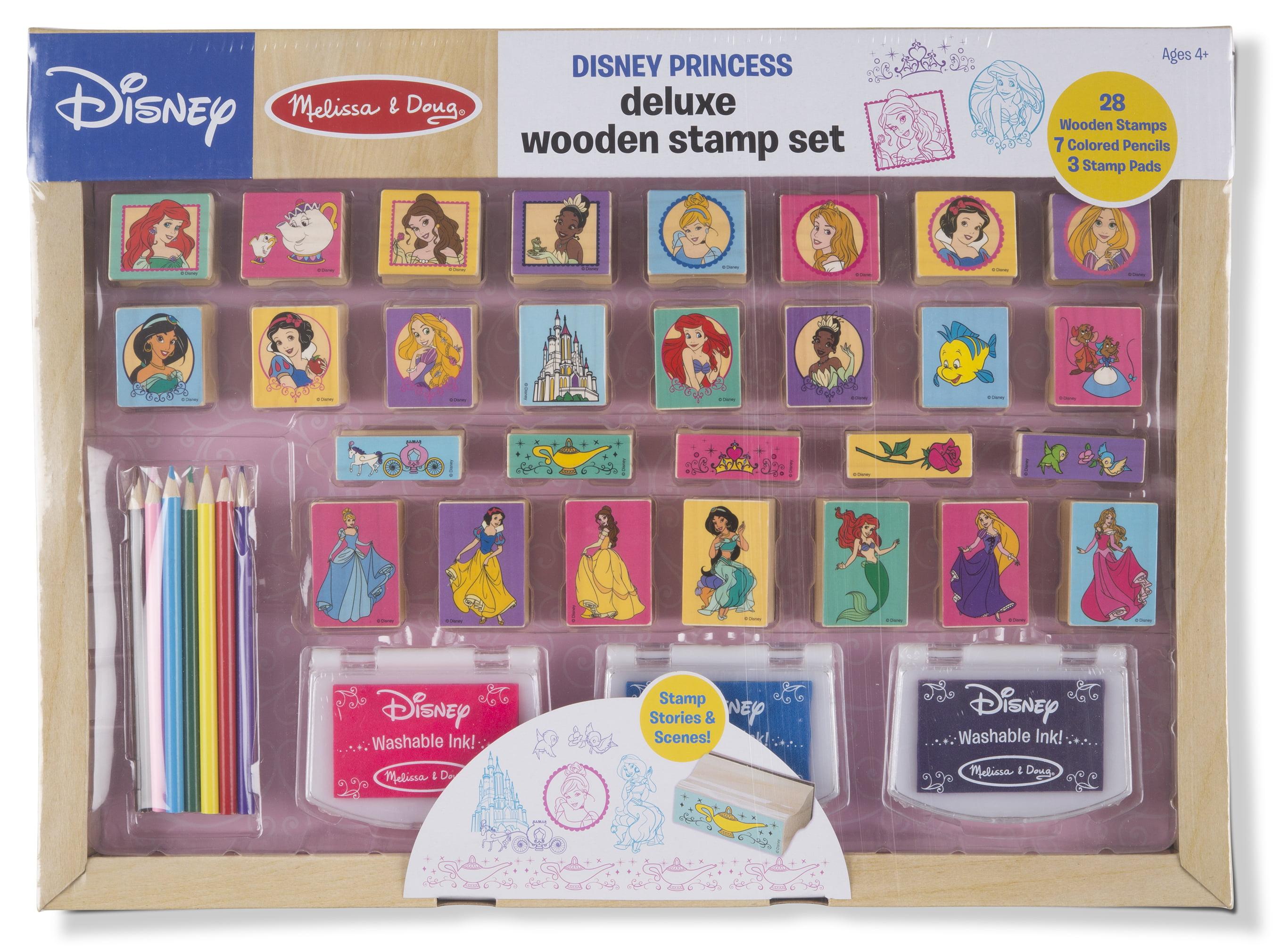 Melissa Doug Disney Princess Deluxe Wooden Stamp Set 28 Stamps 7 Colored Pencils 3 Washable Ink Pads Walmart Com