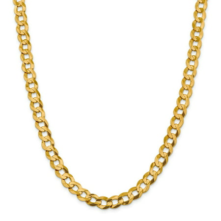 14k Yellow Gold 9.4mm Solid Light Flat Cuban Chain Necklace - Light Necklace