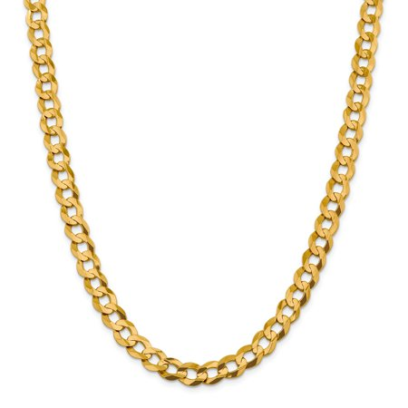 14k Yellow Gold 9.4mm Solid Light Flat Cuban Chain Necklace (Chain Flap)