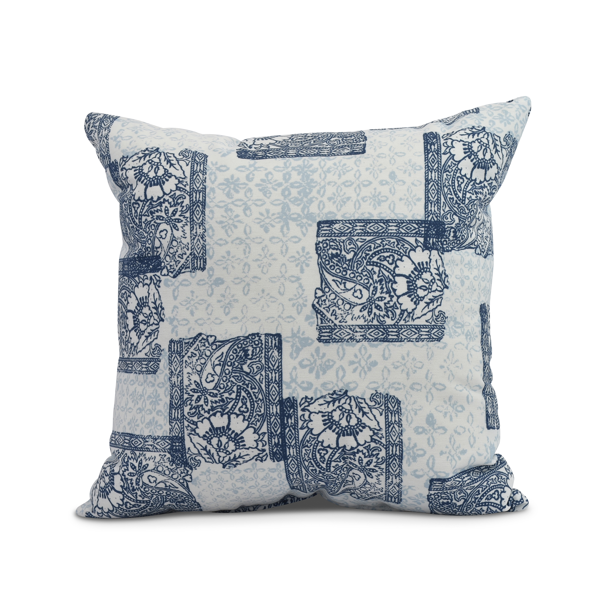 Simply Daisy, 16 x 16inch,Patches Decorative Pillow,Navy Blue