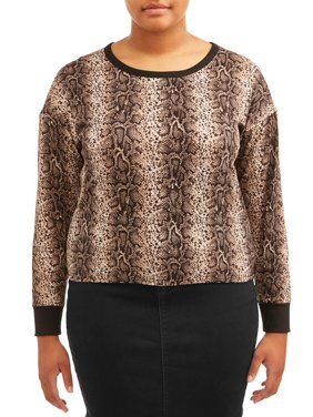 Dynamite Juniors' Plus Size Long Sleeve Ribbed Snakeskin Print Top