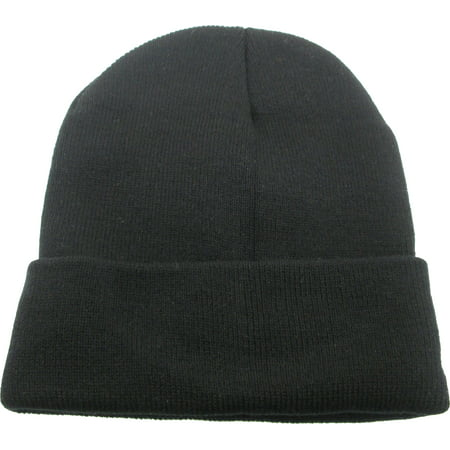 Classic Plain Long Cuff Mens Beanie Sock Cap [Black] (Long Mens Beanie)