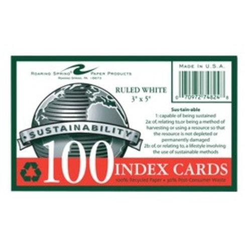 "Roaring Spring Environotes Ruled Index Card - 100 Sheet - 5"" X 3"" - 100 / Pack - White Paper (ROA74824)"