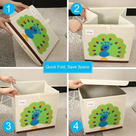 "Foldable Cartoon Storage Bins Toy Box Cube Baskets Lid Green Peacock Pattern 13""x13""x13.6"" - image 3 de 8"