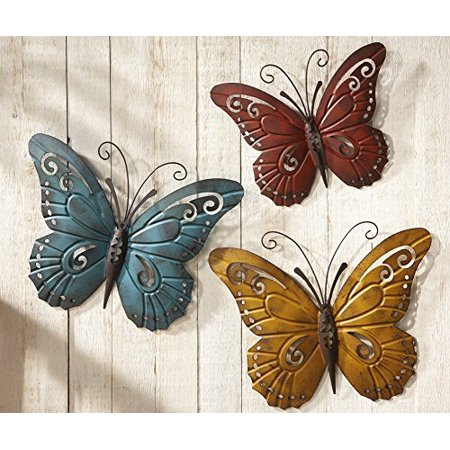 Nature Inspired Metal Butterfly Wall Art Trio by Unique's Shop