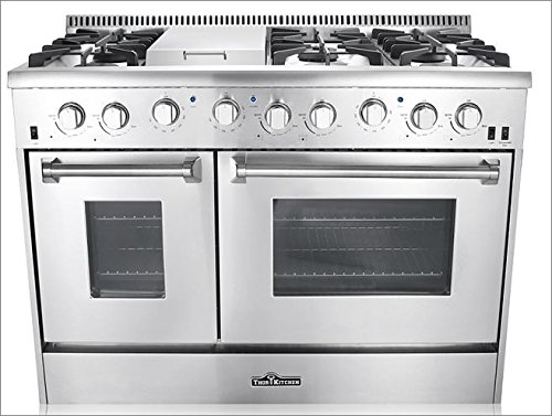 Stainless Steel Thorkitchen HRD4803U 48 Freestanding Professional Style Dual Fuel Range with 4.2 and 2.5 cu Convection Fan Double Oven Griddle ft 6 Burners