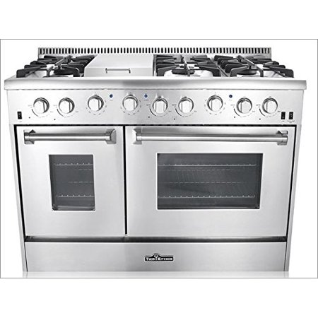 "Thor Kitchen 48"" Freestanding Professional Style Dual Fuel Range with 4.2 and 2.5 cu. ft. Double Oven, 6 Burners, Griddle, Convection Fan, Stainless Steel - HRD4803U"