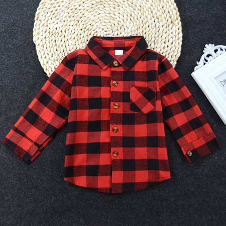 Kacakid Baby Girls Boys Long Sleeve Plaid Shirts Buttons Fall Tops Blouses ()