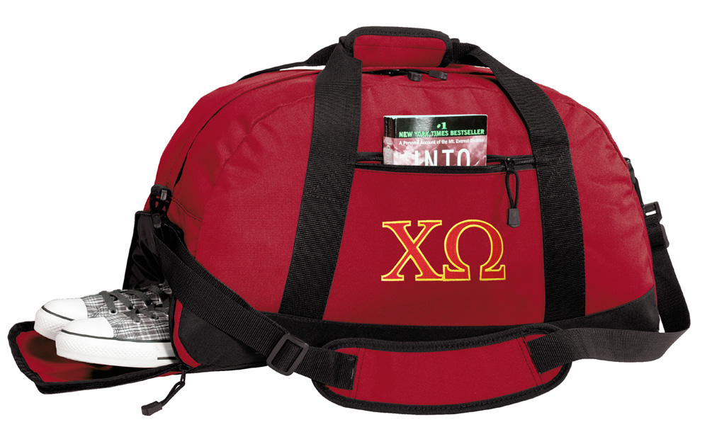 Chi O Sorority Gym Bags Chi Omega Duffle Bag WITH SHOE POCKET! by