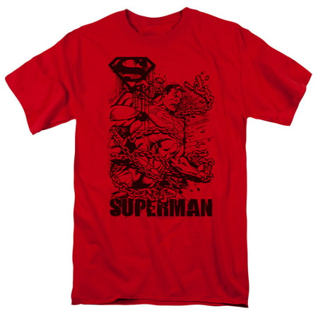 SUPERMAN/BREAKING CHAINS - S/S ADULT 18/1 - RED - 3X