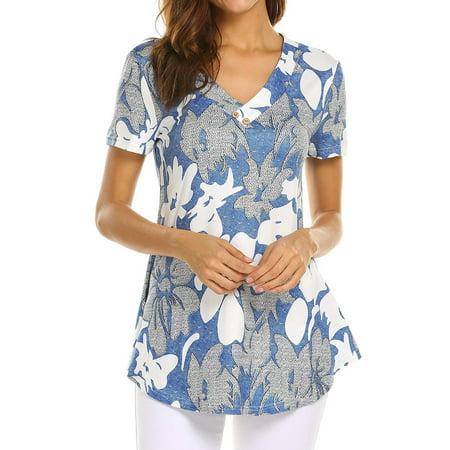 Floral Front Scoop Neck Tee (ZXZY Women V Neck Short Sleeve Floral Print Scoop Hem)