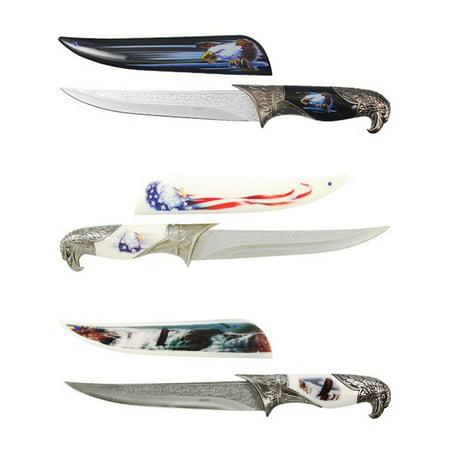 - Bald Eagle Dagger 3pc American Flag Knife Collector Set