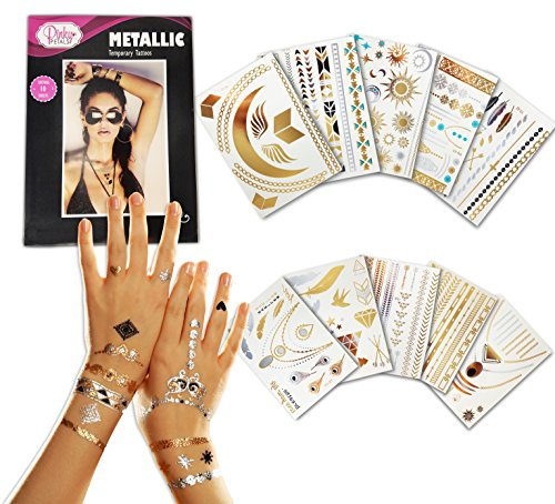 Metallic Temporary Tattoo - 10 SHEETS With Over 200+ Tattoos - Gold Silver Color Temporary Tattoos - High Gloss Shimmer Effect by Pinky Petals
