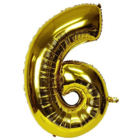 Just Artifacts Glossy Gold (30-inch) Decorative Floating Foil Mylar Balloons - Number: 6 - Letter and Number Balloons for any Name or Number Combination! (Letter Mylar Balloons)