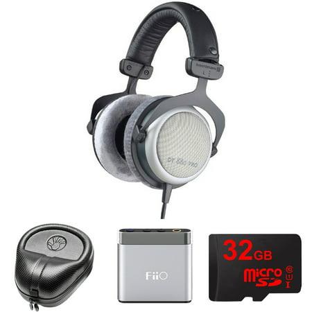 BeyerDynamic Headphones 250 Ohm (DT-880-PRO-250) with Slappa HardBody Headphone Case, FiiO A1 Portable Headphone Amplifier (Silver) & 32GB MicroSD High-Speed Memory