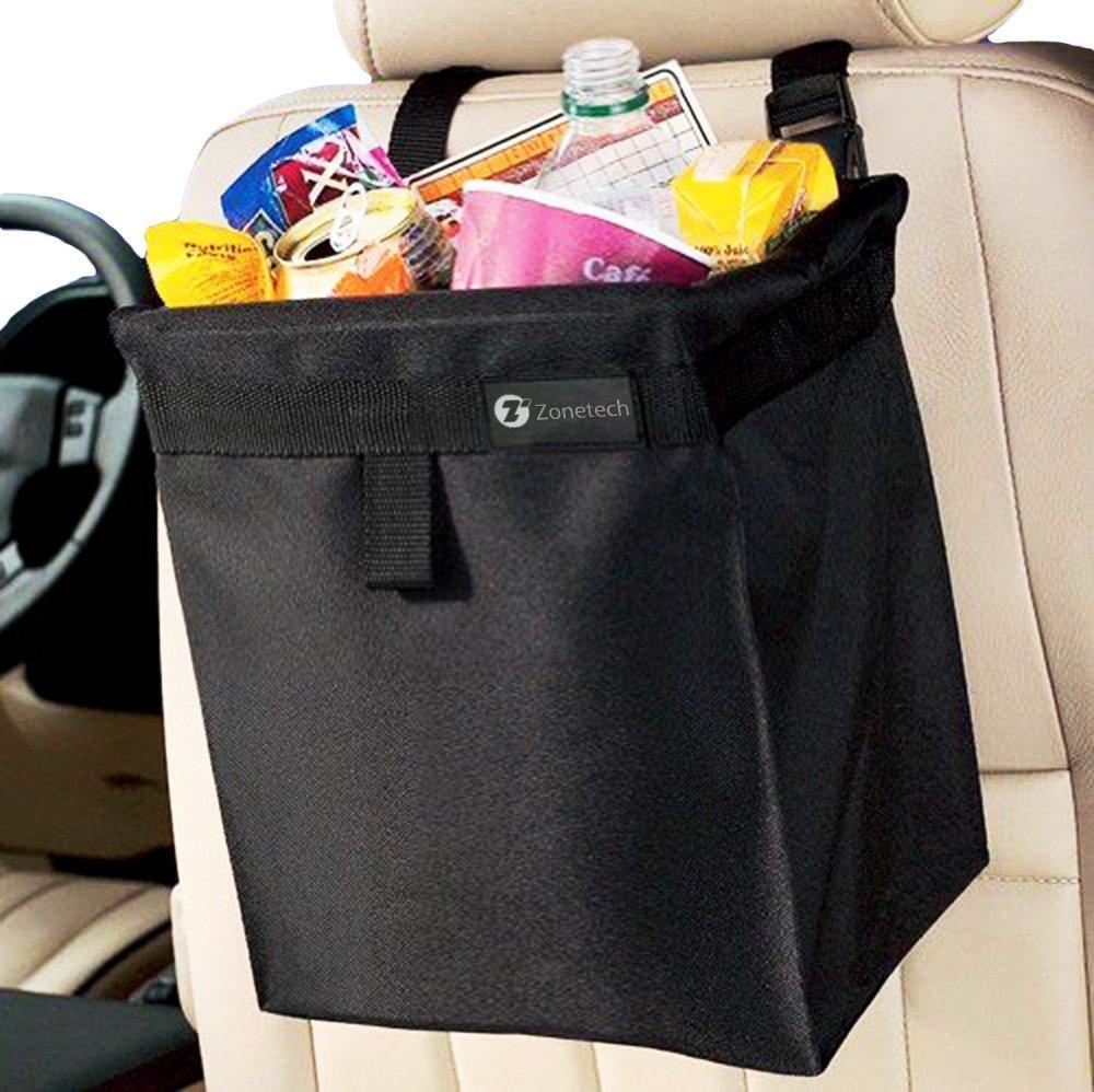 Zone Tech Fully Leak Proof Vehicle Litter Bag - Classic Black Premium Quality Black Universal Traveling Portable Car Trash Can